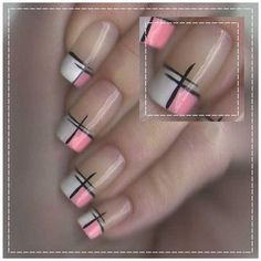 Plaid has been on trend for a fall nail associate degreed if you have got been pondering painting your nails with an impressive cloth style then you'll undoubtedly need to envision out. Plaid Nail Art, Plaid Nails, Elegant Nails, Stylish Nails, Pink Nail Art, Toe Nail Designs, Nails Design, French Tip Nails, Super Nails
