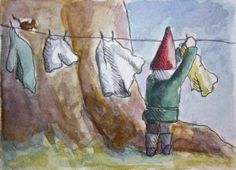 Hanging the laundry...  JollyGnome.com
