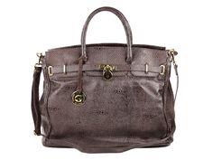 Maxi bolsa feminina em couro legítimo texturizado.