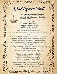 Road Opener Recipe and Spell Magic Spell Book, Witch Spell Book, Witchcraft Spell Books, Witchcraft Herbs, Hoodoo Spells, Wiccan Spells, Candle Spells, Luck Spells, Wiccan Witch
