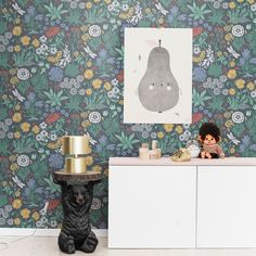 Lotte green is a colourful botany from designer Lisa Grue. Joyful wallpaper patterns for a playful home. Shown here in a delightful crisp and fresh colour combination on a green background. Botanical Wallpaper, Wallpaper Samples, Black Wallpaper, Girl Wallpaper, Pattern Wallpaper, Botanical Interior, Design Repeats, Swedish Design, Interior Design