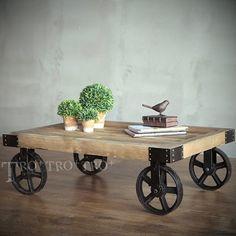 【拓家工業風家具】訂製~鑄鐵重輪工業風LOFT茶几/桌子/北歐風邊桌鄉村風矮桌/實木餐桌/電視櫃/鉚釘桌IKEA品東西