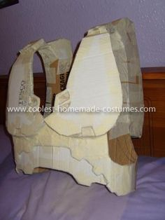 What you need for this Master Chief Halo 3 Costume: Cardboard Masking Tape Newspaper PVA Glue Green Spray Paint Black paint Plastic cider