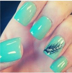 Blue nails with feather