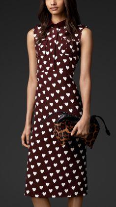 Heart Print Silk Shirt Dress | Burberry