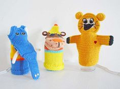 Three Vintage Knitted Hand Puppets Elephant Bear Dog by mothrasue, $35.00