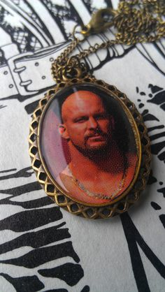 This is a handmade, one of a kind necklace made from a vintage wrestling sticker. Nickel free antique bronze chain and pendant. Stone Cold Steve, Steve Austin, Wwe, Wrestling, Bronze, Guys, Antiques, Pendant, Baby
