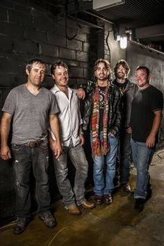 Texas country music band CODY CANADA & THE DEPARTED. Left to right: Chris Doege, Seth James, Cody Canada, Steve LIttleton and Jeremy Plato. 2012.