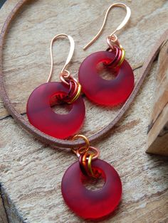 Red Glass Earring and Necklace Set Glass by UniqueChiqueJewelry