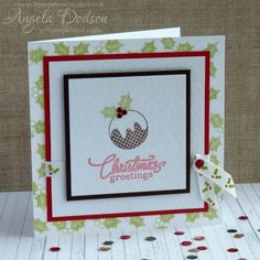 No die cutting or electronic machines needed for this classic handmade Christmas card!