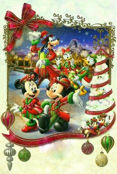 Christmas - Disney - Mickey & Minnie Mouse & Friends Mickey Mouse Christmas, Christmas Cartoons, Mickey Mouse And Friends, Mickey Minnie Mouse, Disney Mickey, Walt Disney, Christmas Scenes, Christmas Wishes, Christmas Pictures