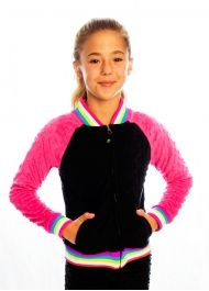 Bubble Baseball Jacket - Black/Fuchsia