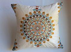 NEW from Kravet fabrics - Blue, Red, Orange, Brown, White Embroidered Medallion Custom Pillow Cover on Etsy, $120.00