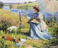 Painting by the river by ALEXANDRE AVERIN