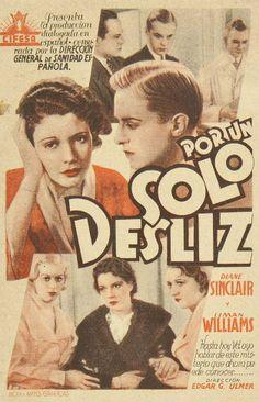"""Programa de mano de cine de la película """"Por un solo desliz"""", estrenada en España en el año 1933"""