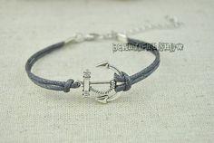 Anchor Bracelet Gray Wax Rope bracelet Antique by BeautifulShow, $1.50 Fashion handmade charm jewelry.