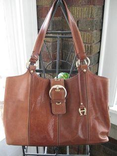 Vintage Etienne Aigner Multi Brown Leather Purse Shoulder Hand Bag Large