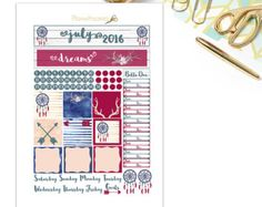 July Monthly View Set - Printable Planner Stickers- Dream catcher Sticker Set