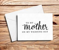 To My Mother Card  Mom Card Parents Card by MadelieneDesigns