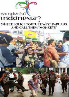"""Where Indonesian police torture West Papuans and call them """"monkeys"""". West Papua, Walk The Earth, Monkeys, Human Rights, Against Humanity, Respect, Crime, Police, Twitter"""
