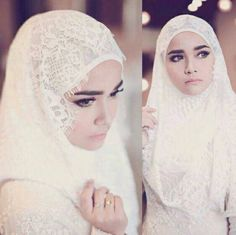 Bridal Hijab, Hijab Bride, Wedding Hijab, Wedding Shawl, Wedding Makeup, Malay Wedding Dress, Muslim Wedding Dresses, Muslimah Wedding, Wedding Designs