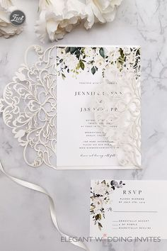 whispers of white-elegant ivory and white flowers greenery laser cut wedding inv. whispers of white-elegant ivory and white flowers greenery laser cut wedding invites Ivory Wedding Invitations, Elegant Wedding Invitations, Wedding Stationary, Wedding Invitation Cards, Wedding Cards, Laser Cut Invitation, Floral Wedding, Fall Wedding, Dream Wedding