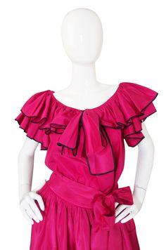 1973 Yves Saint Laurent Pink Silk Ruffle Set image 3