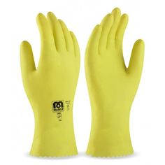 Guante tipo doméstico de látex en color amarillo para riesgos mecánicos superficiales. Referencia  688-LDY Marca:  Marca PL  Aplicaciones: Manipulación General y Protección Mecánica. Interior flockado de algodón y recomendado para tareas domésticas, limpieza. Características y ventajas: - El látex es una sustancia natural que le proporciona un alto nivel de confort por su elevada flexibilidad, a la vez que otorga un excelente agarre y resistencia a la abrasión. - Grip rugoso (puntos) en…