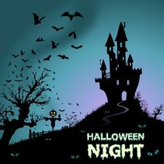 Halloween Night Vector Set V - Castle on the hill @freebievectors