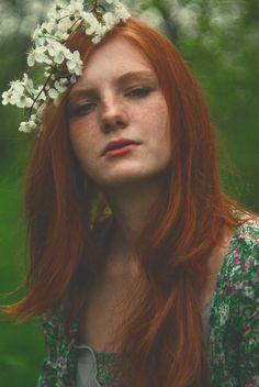 Desire #redhead #woman #flowers #beauty