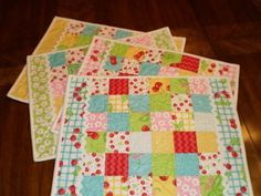 A Quilting Life: Jelly Roll Placemats tutorial-for Moms bday