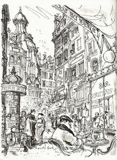 Ronald Searle Sketchbook Inspiration, Art Sketchbook, Drawing Sketches, Art Drawings, Ronald Searle, Arte Fashion, Urban Sketching, Oeuvre D'art, Concept Art