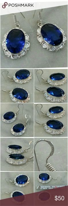 "Genuine Blue Iolite Earrings 1"" & lite Short, lite, flashy, Beautiful!    Set in 925 stamped Solid Sterling Silver. Please see all pictures for details. Brand New. Never Worn. Wholesale Price. Msrp 650 May consider REASONABLE offers Jewelry Earrings"