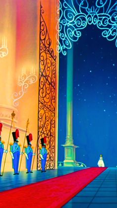 Cinderella.  I like how the guards' eyes follow her as she goes up the stairs. XD
