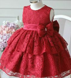 Party dress pattern minnie mouse Ideas for 2019 Red Flower Girl Dresses, Baby Girl Party Dresses, Girls Lace Dress, Dresses Kids Girl, Kids Outfits, Dress Party, Lace Dress For Kids, Baby Girl Dress Patterns, Baby Dress Design