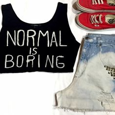 "Crop Top✨ ""Normal Is Boring"" crop top! Very gently used. VANS & DENIM SHORTS ARE NOT FOR SALE. Considering reasonable offers! Forever 21 Tops Crop Tops"