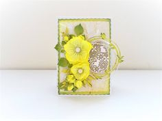 Easter handmade scrapbooking card with foamiran flowers
