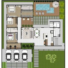 Pool House Plans, Sims House Plans, House Layout Plans, Family House Plans, New House Plans, Dream House Plans, House Floor Design, Home Design Floor Plans, Plan Design