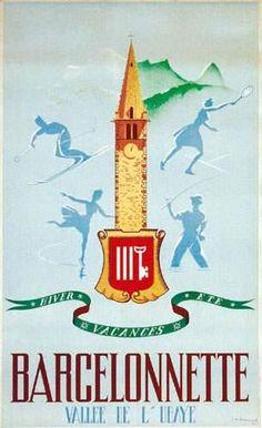 Barcelonnette - vallée de l'Ubaye - 1946 - illustration de  Bompard -