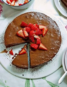 Chocolate mousse cake with strawberries and it is gluten free!