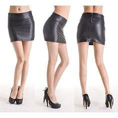 Gleader Donne sexy mini gonna nero in ecopelle elastico Collant Vestito aderente -M