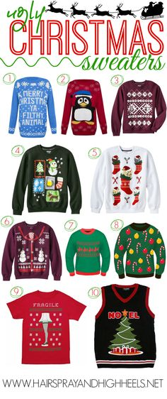Ugly Christmas Sweaters - Hairspray and Highheels Tacky Christmas Party, Tacky Christmas Sweater, Winter Christmas, Christmas Time, Christmas Stocking, Christmas Decor, Christmas Ideas, Christmas Cards, Ugly Xmas Sweater