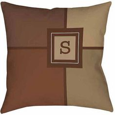 Thumbprintz Grid Monogram Neutral Decorative Pillows, Beige