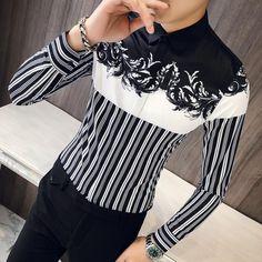 2018 new male autumn Personality printing fashion bar color slim long sleeveddresslliy British Style Men, Mens Shirts Online, Formal Shirts For Men, Men Dress, Shirt Dress, Business Casual Dresses, Korean Outfits, Korean Clothes, Club Shirts
