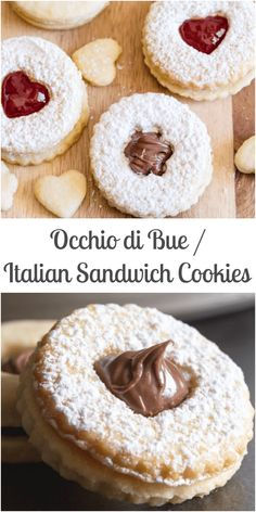 Italian Sandwich Cookies a thin buttery cookie filled with your favorite filling, from a creamy Hazelnut filling to a little Jam or chocolate frosting. Italian Cookie Recipes, Italian Cookies, Italian Desserts, Köstliche Desserts, Baking Recipes, Delicious Desserts, Dessert Recipes, Health Desserts, Plated Desserts
