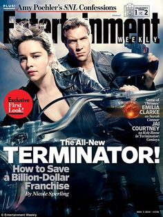 Dynamic duo: Emilia Clarke and Jai Courtney grace one of two covers of the latest issue of Entertainment Weekly, which features the upcoming film Terminator: Genisys