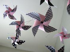Pink, Black and White Mobile / Crib Mobile / Baby Girl Mobile / Nursery Decor / Pinwheels : Think Pink