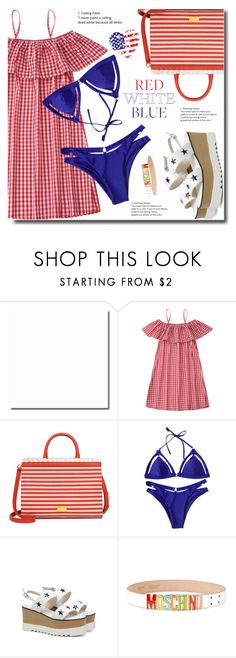 Red, White & Blue: Celebrate the 4th! by soks on Polyvore featuring moda, Boutique Moschino, Moschino and polyvoreeditorial