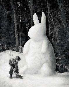 Garden in winter - Snow Bunny Snow Bunnies, Funny Bunnies, Cute Bunny, Big Bunny, Baby Bunnies, Snow Scenes, Winter Scenes, Snow Sculptures, Metal Sculptures