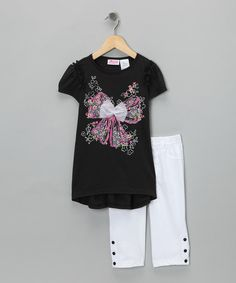 Another great find on #zulily! Black Tulle Bow Tunic & Leggings - Infant #zulilyfinds